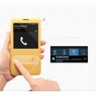 """""""Kalaideng"""" atverčiamas odinis smėlio spalvos S View stiliaus Samsung Galaxy Note 3 N9005 dėklas (dėkliukas)"""
