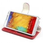Atverčiamas odinis raudonas Samsung Galaxy Note 3 dėklas