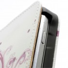 Vertikaliai atverčiamas baltas gėlėtas Samsung Galaxy S Duos 2 S7582, S Duos S7562, Trend S7560, Trend Plus S7580 dėklas