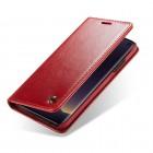 """Samsung Galaxy S10e (G970) """"CaseMe"""" solidus atverčiamas raudonas odinis dėklas - knygutė"""
