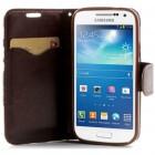 Atverčiamas Samsung Galaxy S4 mini rožių spalvotas dėklas (piniginė) - mėlynas