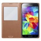 """Samsung Galaxy S5 (S5 Neo) bronzinis odinis atverčiamas """"View Window"""" dėklas su langeliu"""