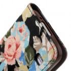 Atverčiamas Samsung Galaxy S5 (S5 Neo) rožių spalvotas dėklas (piniginė) - juodas