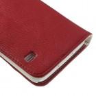Samsung Galaxy S5 (S5 Neo) lychee atverčiamas raudonas odinis dėklas - piniginė