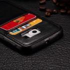 """""""Luxury"""" Leather Samsung Galaxy S6 Edge+ (G928) juodas odinis dėklas - nugarėlė su kišenėle kortelėms"""