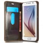 """Samsung Galaxy S6 Edge+ Plus (G928) """"CaseMe"""" solidus atverčiamas rudas odinis dėklas - knygutė"""