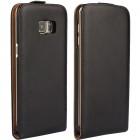 Samsung Galaxy S6 Edge+ Plus (G928) klasikinis vertikaliai atverčiamas juodas odinis dėklas