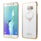 Samsung Galaxy S6 Edge+ (G928) Kingxbar Crystal Icon Pro Love Swarovski plastikinis skaidrus permatomas auksinis dėklas su kristalais