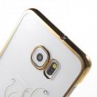 Samsung Galaxy S6 Edge+ (G928) Kingxbar Crystal Icon Pro Peacock Swarovski plastikinis skaidrus permatomas auksinis dėklas su kristalais