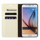"""Samsung Galaxy S6 Edge+ (G928) """"Faux Leather"""" atverčiamas smėlio spalvos odinis dėklas - knygutė"""