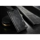 """Samsung Galaxy S6 Edge+ Plus (G928) """"CaseMe"""" solidus atverčiamas juodas odinis dėklas - knygutė"""
