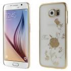 Samsung Galaxy S6 (G920) Kingxbar Crystal Icon Pro Rose Swarovski plastikinis skaidrus permatomas auksinis dėklas su kristalais