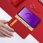 """""""Dux Ducis"""" Wish serijos Samsung Galaxy S9 (G960) raudonas odinis atverčiamas dėkla"""