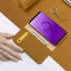 """""""Dux Ducis"""" Wish serijos Samsung Galaxy S9 (G960) šviesiai rudas odinis atverčiamas dėkla"""