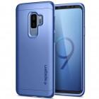 Spigen Thin Fit 360 plastikinis Samsung Galaxy S9+ (G965) telefonams mėlynas dėklas - nugarėlė + apsauginis ekrano stiklas