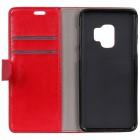 Samsung Galaxy S9 (G960) atverčiamas raudonas odinis dėklas - piniginė