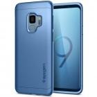 """""""Spigen"""" Thin Fit 360 plastikinis Samsung Galaxy S9 (G960) telefonams mėlynas dėklas - nugarėlė + apsauginis ekrano stiklas"""