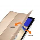 Samsung Galaxy Tab S4 10.5 (T835, T830) atverčiamas auksinis odinis dėklas - knygutė (sulankstomas)