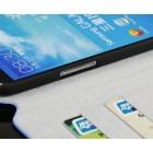 Atverčiamas odinis juodas Samsung Galaxy Mega 6,3 dėklas - piniginė