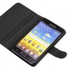 Juodas odinis atverčiamas Samsung Galaxy Note i9220, N7000 dėklas - stovas - piniginė (dėkliukas)