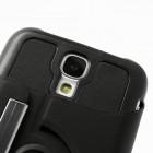 Atverčiamas odinis juodas Samsung Galaxy S4 dėklas