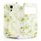 """Atverčiamas gėlėtas """"S-View"""" stiliaus odinis geltonas Samsung Galaxy S4 Mini dėklas"""