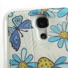 """Atverčiamas gėlėtas """"S-View"""" stiliaus odinis mėlynas Samsung Galaxy S4 Mini dėklas"""