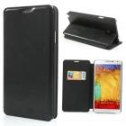 """""""Jilis"""" atverčiamas odinis juodas Samsung Galaxy Note 3 dėklas"""
