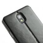 """""""Crazy Horse"""" atverčiamas odinis juodas S View stiliaus Samsung Galaxy Note 3 N9005 dėklas (dėkliukas)"""