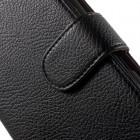 Sony Xperia E4 atverčiamas juodas odinis Litchi dėklas - piniginė