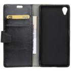 Sony Xperia L1(G3311, G3312, G3313) atverčiamas juodas odinis dėklas - piniginė