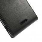 Sony Xperia T3 klasikinis vertikaliai atverčiamas juodas odinis dėklas