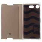 """""""Dux Ducis"""" Skin serijos Sony Xperia XZ1 Compact auksinis odinis atverčiamas dėklas"""