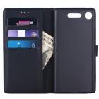 Sony Xperia XZ1 Compact atverčiamas juodas odinis retro dėklas - piniginė