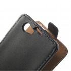 Vertikaliai atverčiamas odinis juodas Sony Xperia Z1 compact dėklas