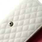 Universali balta odinė telefono piniginė - dėklas (L dydis)