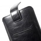 """Apple iPhone 8 Plus """"Vintage"""" universali juoda odinė įmautė su vieta kortelėms susidėti  (XL+ dydis)"""