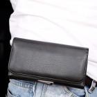 Universali juodas odinis dėklas prie diržo (XL dydis)