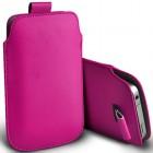 Universali tamsiai rožinė odinė įmautė - dėklas (L dydis)
