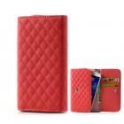 Universali raudona odinė telefono piniginė - dėklas (L dydis)