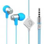 """""""Wallytech"""" mėlynos įkišamos į ausis ausinės (baltos)"""