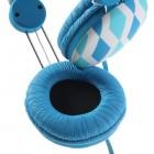 """""""Wallytech"""" šviesiai mėlynos ausinės su lankeliu (su rombais)"""