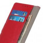 Xiaomi Redmi 7A atverčiamas raudonas odinis dėklas, knygutė - piniginė