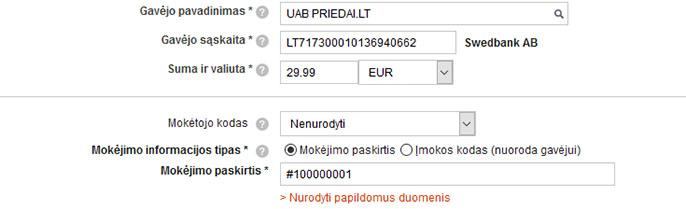 Pavyzdys, kaip užpildyti pervedimą mokant AB Swedbank elektronine bankininkyste