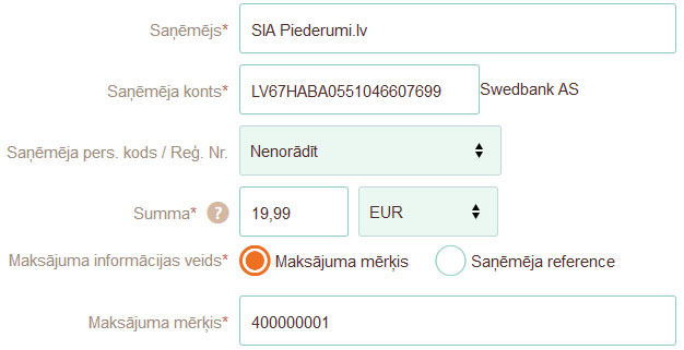 Paraugs, kā ir jāaizpilda pārskaitījumu veicot apmaksu AS Swedbank internetbankā